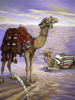 Contented? Camels, fine art print, with Gold Bracelet with CZ Chevrons