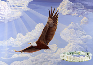 In God We Trust-Bald Eagle with Rhodium Woven Mesh with channel set Cubic Zirconia Bracelet