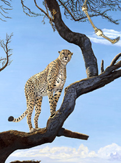OOn Guard-Cheetah, fine art print on canvas, with Gold