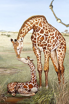 Mother's Touch-Giraffes, Art Print, with Gold Bracelet of Pillow Square and 2 Strand Rope Links