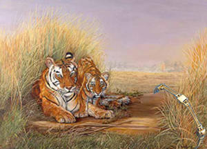 Playime- Mom, tiger, fine art Print, with Gold Bracelet of Pillow Squares and 2 Rope Strands