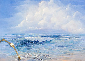 Tranquility Seascape , giclee print, with Gold Square Pillow and 2 strand rop links Bracelet