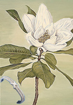 Magnolia, fine art print on canvas, with hodium Cuff Bracelet
