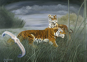 "Night Hunt-Tigers, fine art Print, with Rhodium woven cuff Bracelet with CZ ""X"""