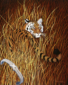 backward Glance-Tiger, fine art print on canvas wth bracelet