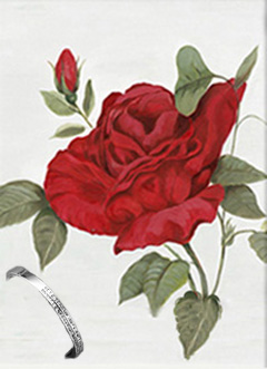 Red Rose II, print on canvas, with Bangle Bracelet with channel set CZs