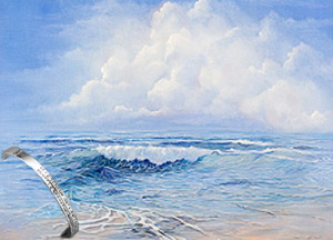 Tanquility Seascape, art print on canvas, with Rhodium and CZ Bracelet