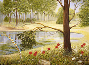Spring Flowers Landscape, fine art print, with CZ and Gold Tennis Bracelet
