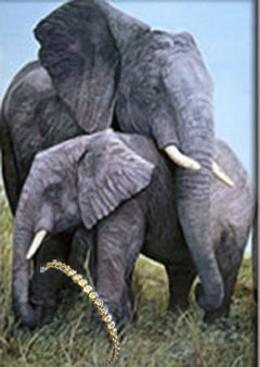 Mother Love=Elephant, fine art print, with Round CZ and Gold Tennis Bracelet