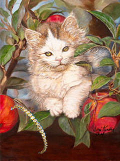 Kitten Up a Tree, fine art print with Round Cz