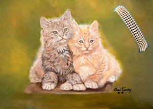 Double Trouble, Kittens, canvas art  print, with 5 strand gold bead Bracelet