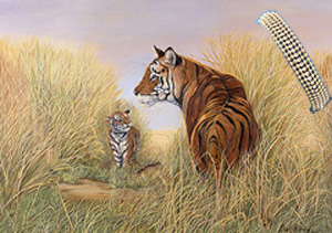 Playtime, Dad-Tigers, Art Print, with 5 Strand Gold Bad Bracelet