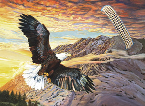 Sunset Cruise-Eagle, fine art print on canvas, with Bracelet of 5 strand 18k gold vermeil  beads with center strand of swarovski crystals