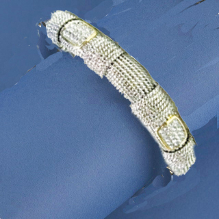Rhodium Mesh Bracelet with CZs