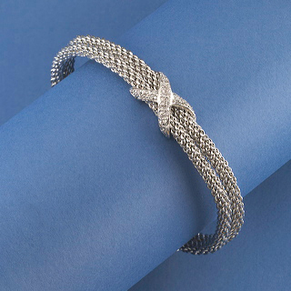 "bracelet-woven rhodium with CZ ""X"""