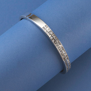 rhodium bangle wih channel set cubic zirconia