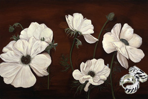 Anemones on Burgundy Black Fine Art Print on Canvas with  the Sterling Silver Huggie Earrings with Black Enamel Inlay and Cubic Zirconia Accents