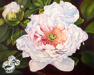Peony-Flower Fine Art Print on Canvas with  the Sterling Silver Huggie Earrings with Black Enamel Inlay and Cubic Zirconia Accents
