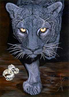 On the Prowl-Black Panther Fine Art Print on Canvas with  the Sterling Silver Huggie Earrings with Black Enamel Inlay and Cubic Zirconia Accents