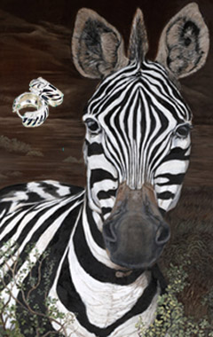 Up Close and Personal-Zebra Fine Art Print on Canvas with  the Sterling Silver Huggie Earrings with Black Enamel Inlay and Cubic Zirconia Accents