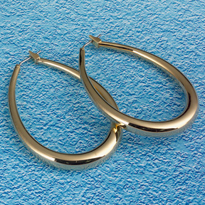 Oval Tubular 18k Gold Bonded Hoop Earrings