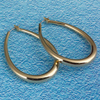 "18K GOLD VERMEIL O2"" OVAL HOOP EARRINGS"