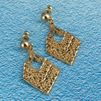 18K Gold vermeil diamond cut earrings