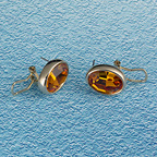 Oval Amber CZ Earrings
