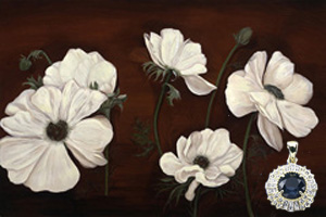 Anemones on Burgundy Black, fine art print on canvas, with Gold Pendant with Rose Cut CZ Emerald Center