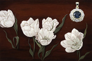 Tulips on Burgundy Black, fine art print, with Gold Vermeil Pendant with Rose Cut CZ Center
