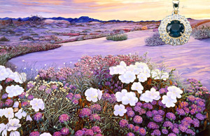 That Magic Hour-Landscape, giclee print on canvas, with  rose cut CZ Emerald Center surroundd by channel set CZs