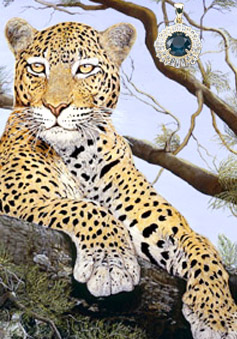 The Sentinel-Leopard, fine art print on canvas, with Gold Vermeil Pendant with Rose cut CZ Emerald Center surrounded by channel set CZs
